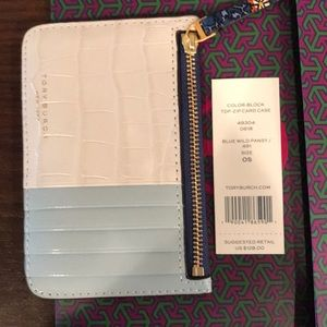 Tory Burch color block top-zip card case
